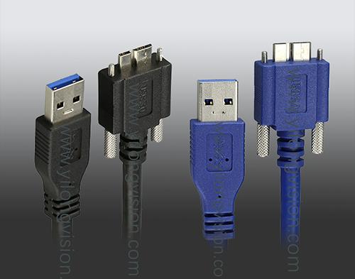 工业相机专用Micro USB3.0高柔带螺丝锁扣线